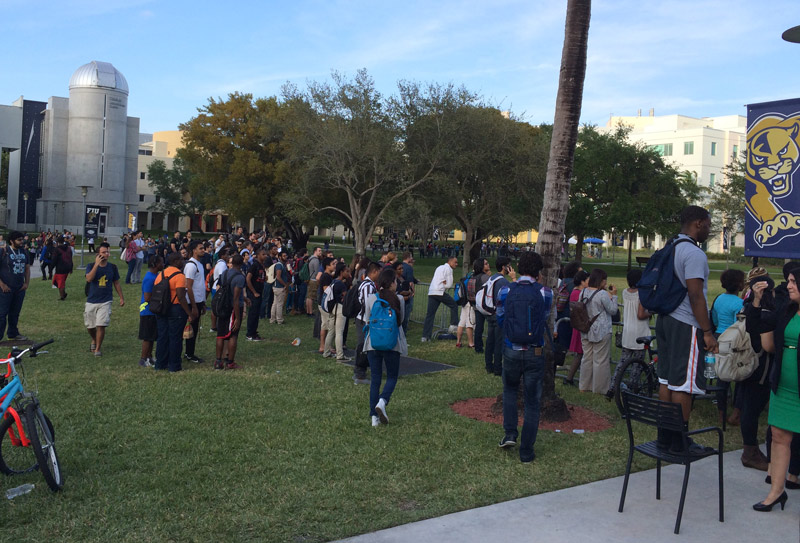 FIU students wait to see Obama in person