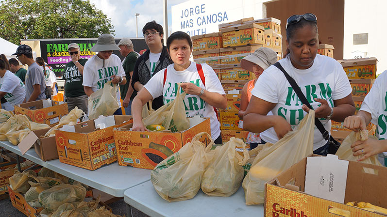 Farm Share Volunteers Handing Out Food IN Sweetwater